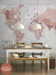 executive world map wall mural by printed space for ideal home executive world map wall mural by printed space for ideal home magazine dining room photoshoot