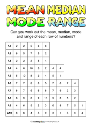 mean median mode and range questions teaching ideas