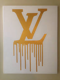 louis vuitton drip painting 16x20 lv inspired white and