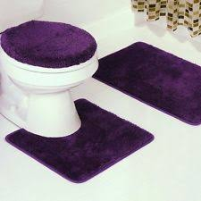 Plum Bath Rugs Solid Bath Rug Contour Mat Toilet Lid Cover Bathroom Set 3pc Plum