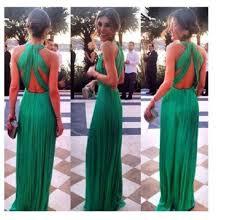 dress prom dress green dress green backless long dress