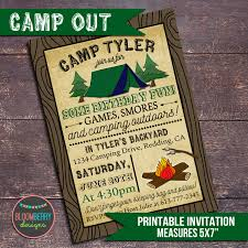 camping party invitation campout party invitation printable