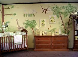 epic image of safari baby nursery room decoration using double mural and yellow green baby room wall paint epic