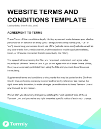 terms of use free terms conditions templates downloadable sles termly