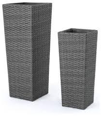 eden outdoor wicker flower pots set of 2 contemporary outdoor