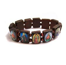 religious bracelets wooden jesus holy saints christian religious catholic