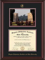 virginia tech diploma frame vt diploma frame mahogan lacquer w vt war memorial black on maroon