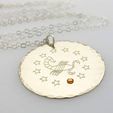 Personalized Pendant Necklace Zodiac Sterling Silver Pendant Necklace With Birthstone