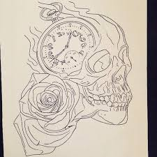 drawn pocket watch skull pencil and in color drawn pocket watch