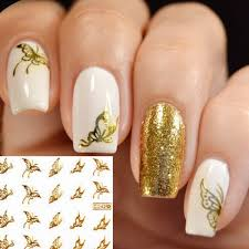 gold butterfly design water transfer nail sticker decal at