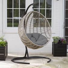 Outdoor Chair Island Bay Resin Wicker Hanging Egg Chair With Cushion And Stand