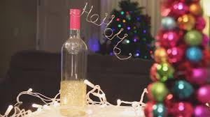 How To Decorate A Wine Bottle Christmas Glitter Wine Bottle Decoration Diy Youtube