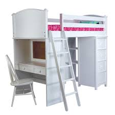 seemly interior wooden loft bed also pink bed sheet and study