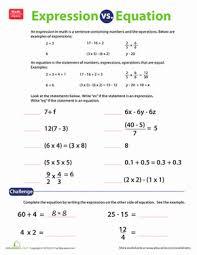expression vs equation worksheet education com