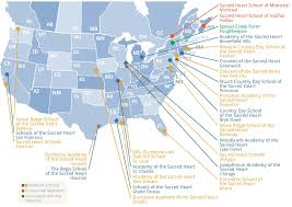 The United States And Canada Map by Convent Of The Sacred Heart Sacred Heart Internatonal Network