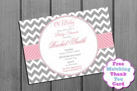pink and grey chevron baby shower invitation pink baby