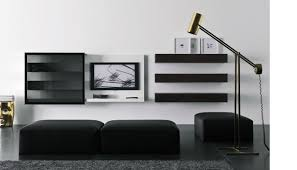Black And White Living Room With Minimalist Wall Mounted Tv Idea