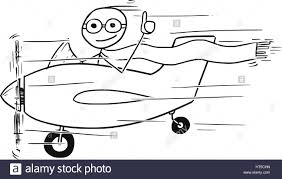 cartoon vector stickman man flying in small propelled airplane