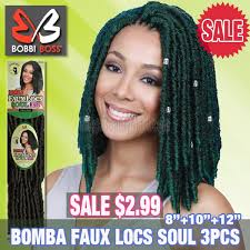 crochet hair wigs for sale boss synthetic crochet braid bomba faux locs soul 3pcs 8 10