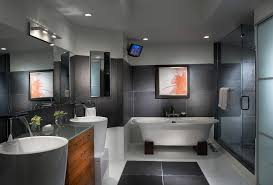 small flat interior bathroom contemporary with tv chrome cabinet