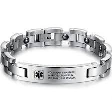 engravable id bracelet custom men emergency id bracelet engraving alert id