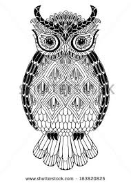 decorated graphic owl patterns ornaments stock vector 300411815