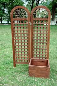 merry products cedar planter box with trellis u0026 reviews wayfair
