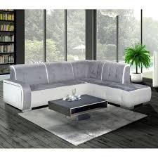 canapé pvc angle canapé angle droit nubuk et pvc gris et blanc florida dya shopping fr