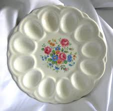 white deviled egg plate white porcelain ceramic floral motif deviled egg serving dish tray