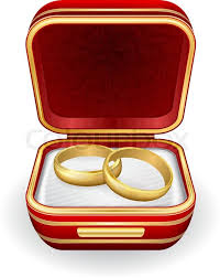 wedding ring in a box gold wedding rings in box eps10 stock vector colourbox