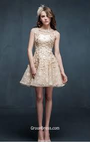 flower light champagne sleeveless tulle beautiful short prom dress
