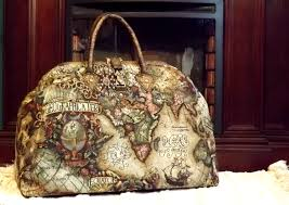 Map Tapestry Mary Poppins Style Steampunk Carpet Bag Travel Bag Old World