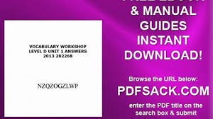 vocabulary workshop level d unit 1 answers 2013 282268 video