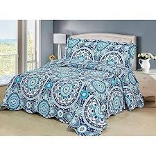 turquoise blue grey big medallion bedspread king set navy beige