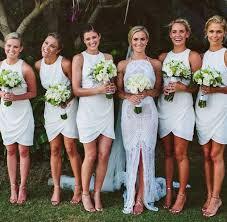 discount bridesmaids dresses white chiffon o neck cheap simple pleats bridesmaid dress