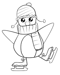 baby penguin skating coloring coloring pages