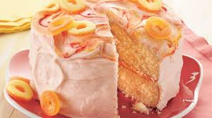peach cake with sour peach frosting recipe bettycrocker com