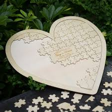 wedding guest book alternative customs personalised puzzle heart shaped wedding guestbook