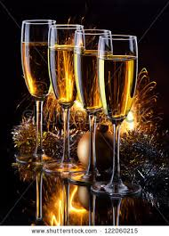 new years chagne glasses four chagne glasses ready bring new stock photo 122060215