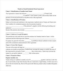 sample month to month rental agreement form 11 free documents