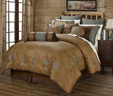 Brown Queen Size Comforter Sets Western Cross Bedding Ebay
