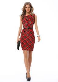 red plaid patchwork bodycon a line dress women 2017 elegant