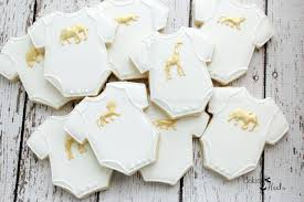 white and gold baby shower gold animal onesie baby shower cookies golden safari baby