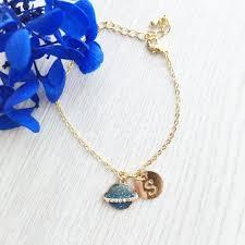 Customized Name Bracelets Planet Saturn Interstellar Space Blue Medallion Alphabet Lettering