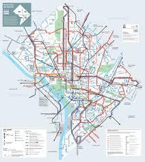 Washington Dc Maps Large Detailed Metrobus Route Map Of Washington D C Washington