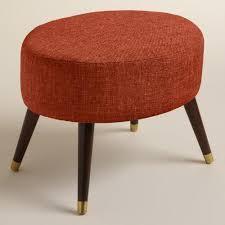 Orange Ottoman Orange Linen Kern Oval Upholstered Ottoman