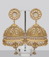 jhumka earrings online shopping large jhumka earrings shining with stones pearls i 3 jewelry