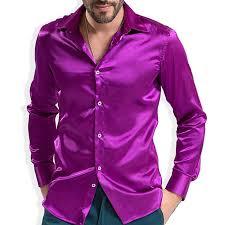2017 fashion shiny silky satin dress shirt luxury silk like long