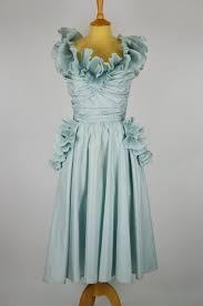 1980s vintage dress by frank usher duck egg blue silk satin