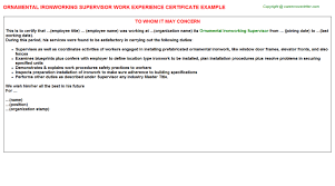 ornamental ironworking supervisor title docs